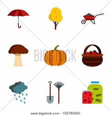 Season of year autumn icons set. Flat illustration of 9 season of year autumn vector icons for web