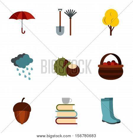 Falling leaves season icons set. Flat illustration of 9 falling leaves season vector icons for web