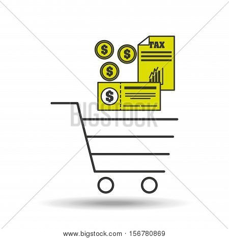 e-commerce cart shop tax pay icon vector illustration eps 10