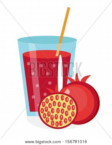 Pomegranate juice in a glass. Fresh pomegranate juice isolated on white background. Fresh fruit and juice icon. Pomegranate drink, fruit compote. Grenadine cocktail. Vector illustration