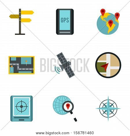 Location icons set. Flat illustration of 9 location vector icons for web