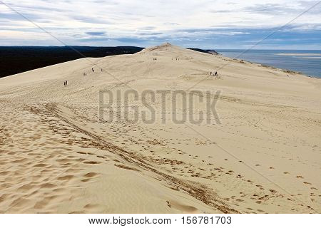 Dune de Pilat, France, October 23, 2016: The Dune de Pilat in France is the biggest wandering dune in Europe.