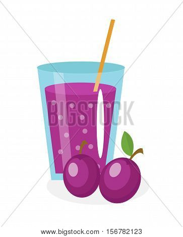Plum juice in a glass. Fresh plum juice isolated on white background. Fresh fruit and juice icon. Plum drink, fruit compote. Plum cocktail smoothie. Vector illustration
