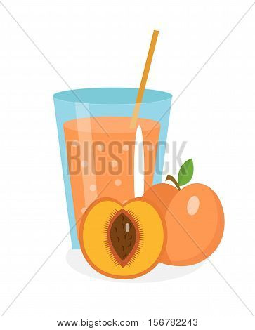 Peach juice in a glass. Fresh peach juice isolated on white background. Fresh fruit and juice icon. Peach drink, fruit compote. Apricot cocktail smoothie. Vector illustration