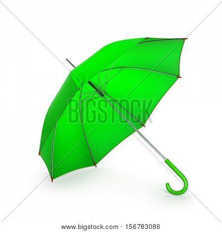 Green umbrella isolated on white background. 3D illustration