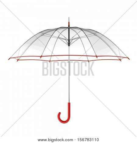 Clear transparent umbrella isolated on white background. 3D illustration