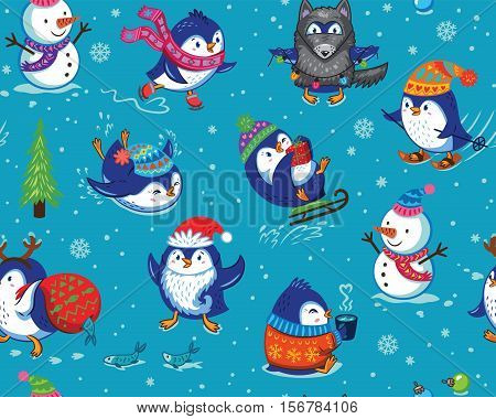 Cute Christmas seamless pattern with skating penguins, snowmans and snowflakes. Funny cartoon penguin print for christmas background, wallpaper, gift wrap, fabric. Vector illustration