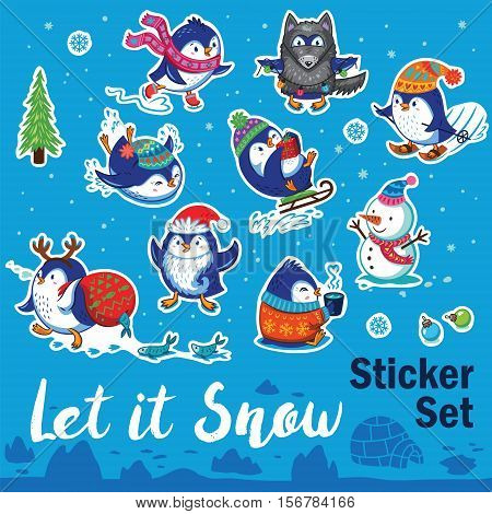 Let it snow. Set of Merry Christmas and Happy New Year stickers or magnets. Cartoon penguins ice-skating, sledding, skiing, drink tea and pretend to be wolf. Vector illustration