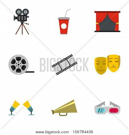 Cinematography icons set. Flat illustration of 9 cinematography vector icons for web
