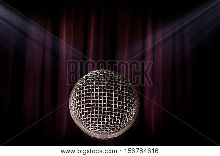 old grunge theater purple curtain background. music contest.