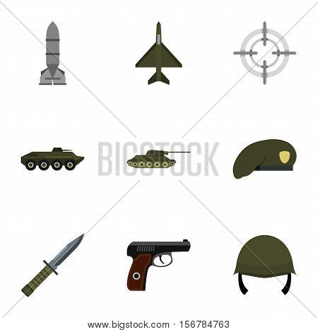 Equipment for war icons set. Flat illustration of 9 equipment for war vector icons for web