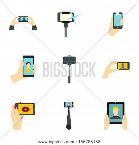 Shooting on cell phone icons set. Flat illustration of 9 shooting on cell phone vector icons for web