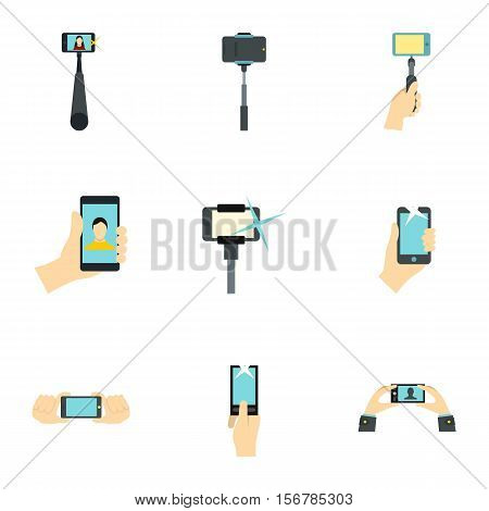 Selfie icons set. Flat illustration of 9 selfie vector icons for web
