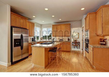 Wooden Kitchen Room Interior Design With Steel Appliances