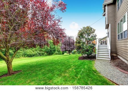 Well Kept Lawn In Beautiful Back Yard. House Exterior.