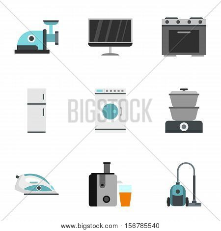 Appliances icons set. Flat illustration of 9 appliances vector icons for web
