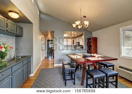 Apartment House Dining Room Interior In Gray Colors