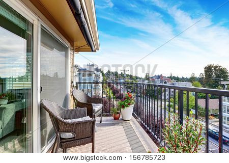 Apartment House Exterior In Seattle. Balcony View.