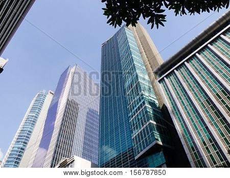 Manila Philippines - Dec 21 2015. Finance buildings located at downtown in Manila Philippines.