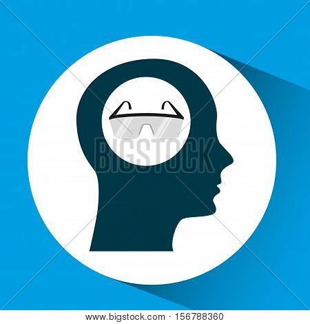 silhouette head protection glasses laboratory design vector illustration eps 10