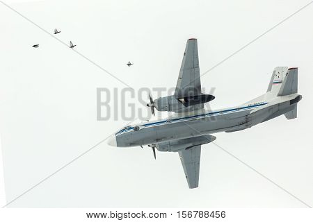 Omsk, Russia - March 19, 2016: Plane AN-2 participant Airshow.