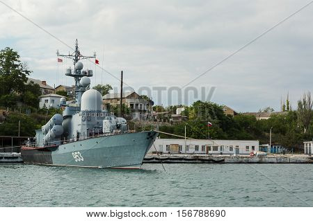 Sevastopol, Russia - June 09, 2016: Large Rocket Launch P-239. Board number - 953. Sevastopol naval base of the Black Sea Fleet. Crimea