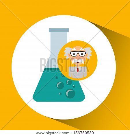 character man scientist beaker laboratory vector illustration eps 10