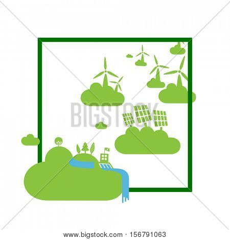 Green energy power plants on clouds. Abstract ecology concept illustration.