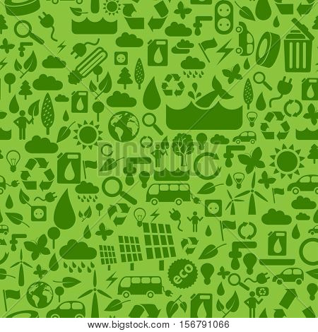 Ecology seamless pattern made from little eco, energy and natural symbols.