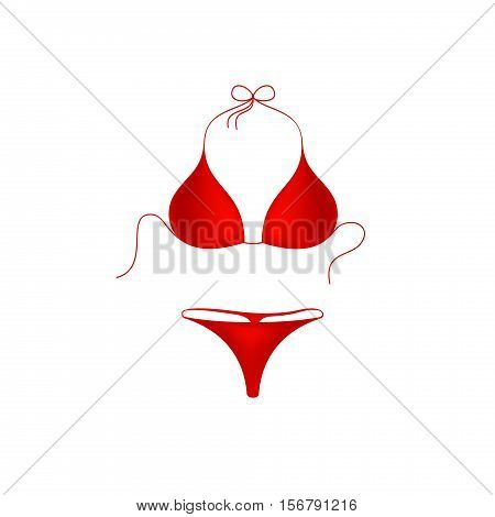 Bikini suit in red design on white background