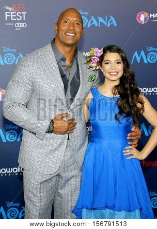 Dwayne Johnson and Auliâ??i Cravalho at the AFI FEST 2016 Premiere of 'Moana' held at the El Capitan Theatre in Hollywood, USA on November 14, 2016.
