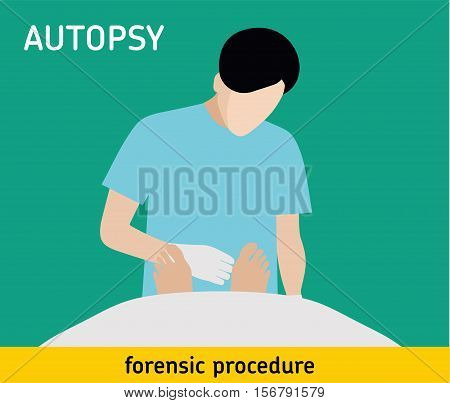 Autopsy. Forensic procedure. The pathologist conducts the autopsy of the murder victim