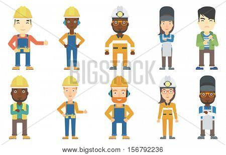 Welder wearing protective mask and apron. Confident welder standing with folded hands. Miner wearing hard hat with flashlight. Set of vector flat design illustrations isolated on white background.