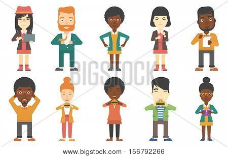 Happy businessman eating hamburger. Delighted businessman with eyes closed biting hamburger. Businessman is about to eat hamburger. Set of vector flat design illustrations isolated on white background
