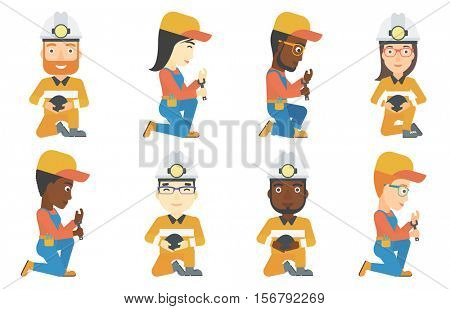 Miner in helmet with a flashlight holding coal in hands. Worker of coal mine sitting on his haunches. Plumber working with spanner. Set of vector flat design illustrations isolated on white background
