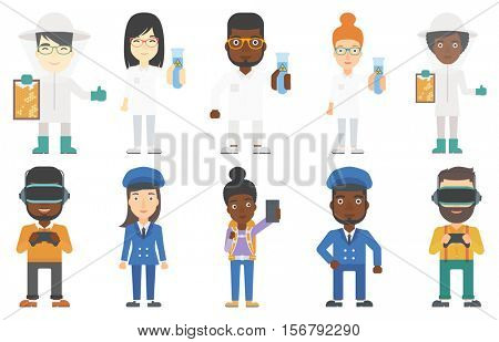 Scientist holding a flask with biohazard sign. Smiling scientist in medical gown. Scientist showing a flask with some liquid in it. Set of vector flat design illustrations isolated on white background