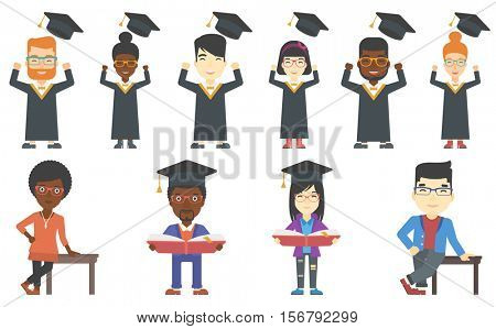 Excited graduate in cloak and graduation hat. Happy graduate throwing up his hat. Cheerful graduate celebrating with hands raised. Set of vector flat design illustrations isolated on white background.