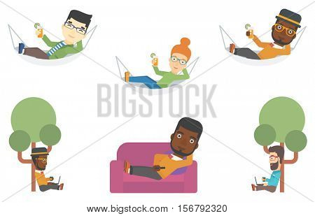 Carefree man chilling in hammock with cocktail in hand. Tourist relaxing in hammock and drinking a cocktail. Man lying in hammock. Set of vector flat design illustrations isolated on white background.
