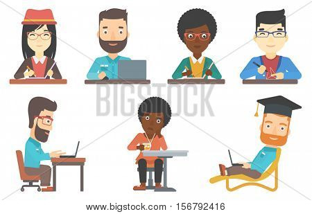 Journalist sitting at the table and writing in notebook with pencil. Journalist writing notes. Journalist working at the table. Set of vector flat design illustrations isolated on white background.