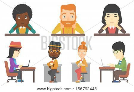 Depressed businessman sitting at the desk. Depressed hipster businessman holding head in hands. Young business woman in depression. Set of vector flat design illustrations isolated on white background