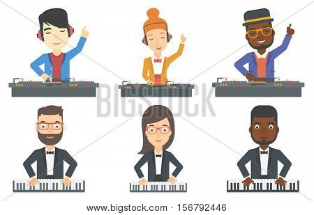 Young DJ mixing music on turntables. DJ playing and mixing music on deck. DJ in headphones at the party. Pianist playing piano. Set of vector flat design illustrations isolated on white background.