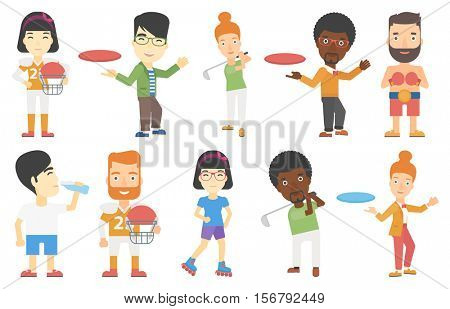 Young man playing flying disc. Man throwing flying disc. Woman catching flying disc. People having fun while playing flying disk. Set of vector flat design illustrations isolated on white background.
