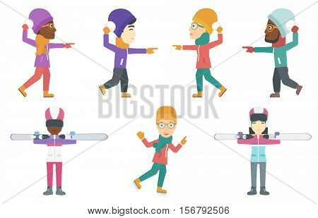 Happy people playing in snowballs. Cheerful man having fun while playing with snowballs in winter. Woman during snowball fight. Set of vector flat design illustrations isolated on white background.