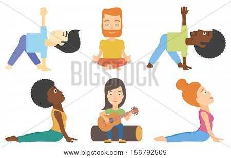 Man practicing yoga upward dog pose. Woman meditating in yoga upward dog position. Man doing yoga. Man sitting in yoga lotus pose. Set of vector flat design illustrations isolated on white background.