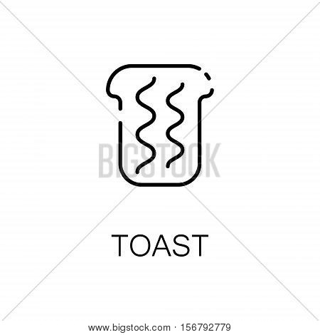 Toast flat icon. Single high quality outline symbol of bakery for web design or mobile app. Thin line signs of toast for design logo, visit card, etc. Outline pictogram of toast