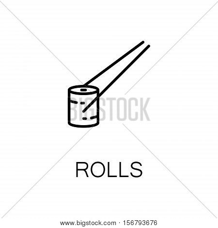 Roll flat icon. Single high quality outline symbol of sesfood for web design or mobile app. Thin line signs of roll for design logo, visit card, etc. Outline pictogram of fish roll