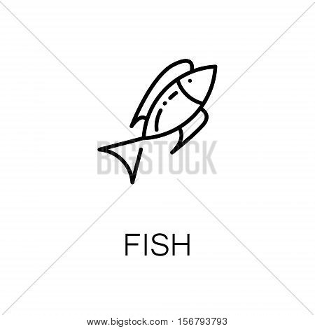 Fish flat icon. Single high quality outline symbol of seafood for web design or mobile app. Thin line signs of fish for design logo, visit card, etc. Outline pictogram of fish