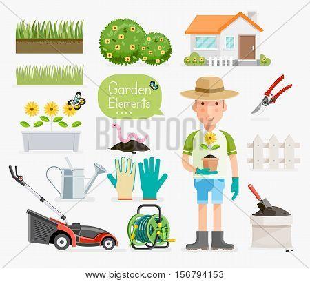 Conceptual of Gardening . Gardener and Garden tools equipment. Vector illustration flat style.