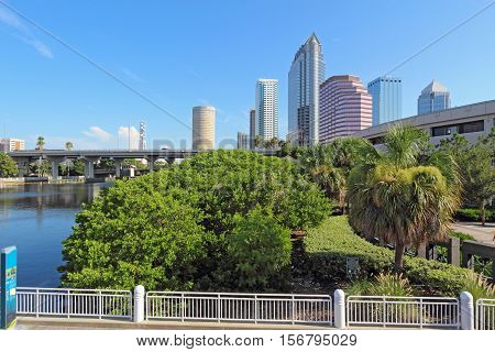 Partial Tampa Florida skyline with Riverwalk Park and commercial buildings