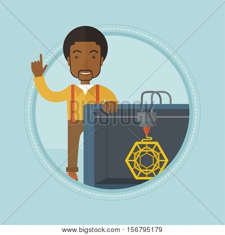African-american man standing near 3D printer and pointing forefinger up. Engineer using 3D printer. Man working with 3D printer. Vector flat design illustration in the circle isolated on background.